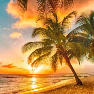 Sunset In Sea Caribbean Island Wallpaper