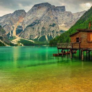 Lake In Dolomiti Mountains Wallpaper