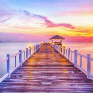 Wooded Bridge Sunrise Wallpaper